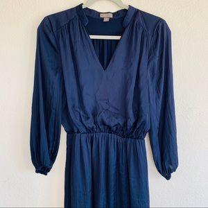 J. Crew Dresses - Point Sur J. Crew Navy Satin Long Sleeve Dress